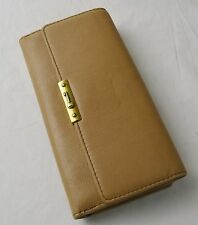 Fossil Tan Brown Vintage Leather Knox Flap Clutch Checkbook Wallet