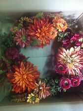 Autumn Wreath MUMS& DAHLIAS Harvest Fall Wall/Door Decor  Nearly Natural
