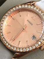 Fossil ES4556 Scarlette Mineral Gray Leather Ladies' Watch NEW WITH CASE