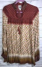 NWOT IVY JANE Womens Blouse Tunic Small Orange/studded 100% Rayon Floral/polka