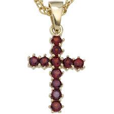 NEU Anhänger Kreuz echt Gold 333er 8 Karat Kettenanhänger echte Edelsteine rot