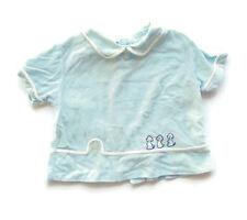 Vintage Baby Diaper Shirt Blue Boy Puppies Mid Century Newborn Preemie
