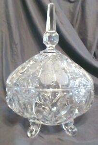 """VINTAGE HEAVY CRYSTAL CUT & ETCHED STRAWBERRIES & BURST LIDDED DISH, 11"""" TALL, M"""