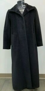 CINZIA ROCCA Size 6 Black Long Baby Llama Coat Soft Pretty Made in Italy