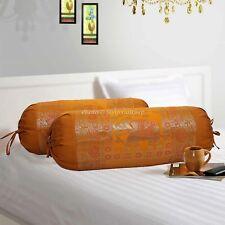 Indian Handmade Designer Silk Bolster Cover Pillow Throw Cylinder Cushion Cover