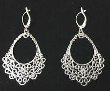 Vintage Silver Plated Chandelier Styled Steel Earrings