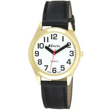 Ravel Ladies Super Bold Hands Big Numbers Watch Easy Read White Face Black Strap