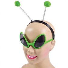 Alien Diadema Y Gafas cabeza Bopper Fancy Dress Costume Kit Conjunto de Accesorios