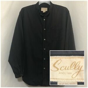 XL SCULLY Men's Long Sleeve Button Down Banded Collar Gray Striped Western Shirt