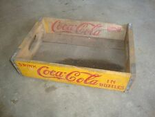 Vintage 1957 Wooden Yellow Coca-Cola Coke Soda Pop Bottle Crate Carrier Box