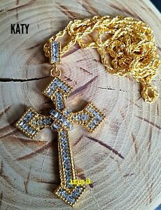 """2.76"""" Large Gold Cross Protection Pendant Rope Chain Crystal Necklace Gift Luck"""