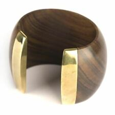 81stgeneration Wood Brass Gold Tone Large Brown Big 55 mm Cuff Bangle Bracelet