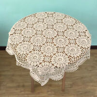 Vintage Crochet Lace Doilies Mat Cotton Tablecloth Square Table Cloth Cover 60cm