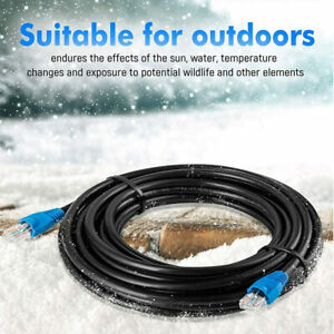 MutecPower CAT6 Network Cable Outdoor Waterproof Direct Burial Black Ethernet50m
