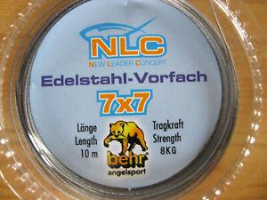 NLC Edelstahlvorfach Behr 7x7 sehr weich Länge 10m versch.tragkraft 1m ab 0,68€