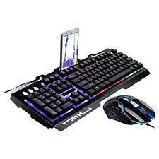G700 Nero Tastiera per i Giochi Meccanico Retroilluminata Con Mouse & Phone