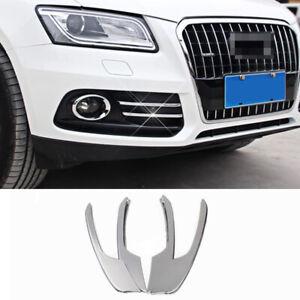 For Audi Q5 10-17 4pcs Chrome Front Grill Grille Fog light Lamp Strip Cover Trim