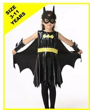 Girls Batman Costume Superhero Dress Up Outfit Batgirl Child -  Size 3-11 years