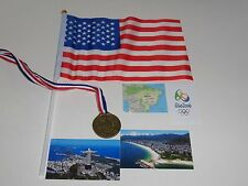 OLYMPICS ACCESSORIES set for American Girl or any doll USA FLAG, GOLD MEDAL +