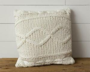"""Cream Knitted 18"""" Square Throw Pillow"""
