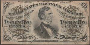 United States 1863 Fractional Currency Note~25 cent~ Approx 4 x 2 inches