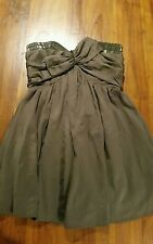 Wish grey strapless dress w beading detail sz12 preowned Free post D37