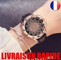 Montre Mode Cristal Bracelet Cuir Quartz Femme Bijoux Luxe Qualité Femme Cadeau
