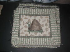 Set of 10 - Bee Hive Dragon Flies & Stripes Tapestry Pillow Top Fabric Piece