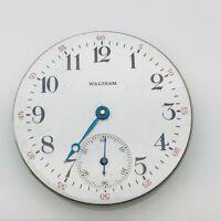 Antique Waltham Pocket Watch Movement & Dial Safety Barrel 15J Parts Restoration