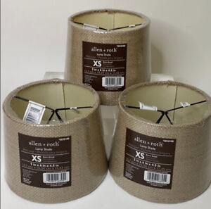 Allen Roth Burlap Lamp Shade XS Lot Of 3 New 5in x 6in x 4.5in