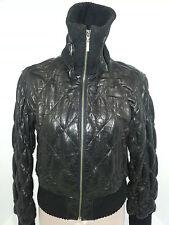 WILSON Womens Leather Biker Bomber Jacket Coat Full Zipper Front Black Sz Small
