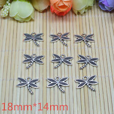 10pcs 3D dragonfly  Tibetan Silver Charm Pendant Bead Jewellery Making 18x14mm