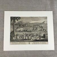 Bernard Picart Incisione 18th Secolo Originale Re Di Guinea Funerale Cerimonia