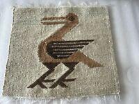 "Textile Primitive Fiber Folk Art Bird Woven Wall Tapestry S. America 14"" x 15"""