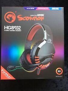 MARVO SCORPION STEREO GAMING HEADSET – BLACK/RED – HG8932-Red Backlight-UK Slr