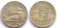Spain-Gobierno provisional. 2 pesetas 1870*18-74. Madrid. MBC+/VF+