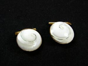 Vintage Goldtone & White Sea Shell Button Cufflinks Unbranded 72315