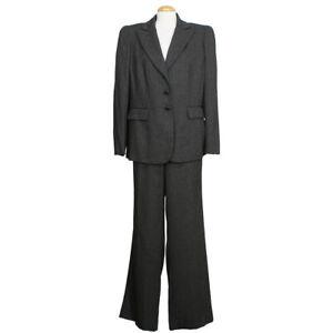 TAHARI Black White Melange Wide Leg Longer Jacket Pant Suit 14W