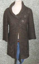 20 229/11 APANAGE donna maglione cardigan TGL 36 MARRONE APRIRE a maglie grosse