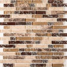 1m² Brown and White Crackle Glass & Marble Mosaic Tile Sheet (MT0154)