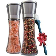 Salt and Pepper Shakers Salt Pepper Grinder Set Mill Adjustable Coarseness Glass