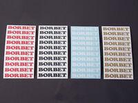 10 x BORBET Aufkleber - Größe: 0,9 x 6,5cm - rot - schwarz - weiß - gold