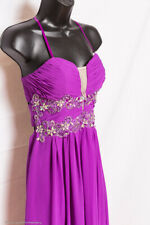 Prom Bridesmaid Pageant Formal Dress Gown Open Back Strapless Chiffon Bling 3 4