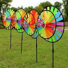 34cm Colorful Rainbow Triple Wheel Wind Spinner Windmill Garden Yard Decor drgef