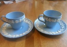 WEDGWOOD QUEEN'S WARE - DEMITASSE CUPS & SAUCERS - LAVENDER BLUE - SHELL EDGE
