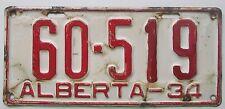 Alberta 1934 License Plate # 60-519