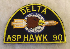 """1990'S """"DELTA ASP HAWK 90"""" GERMAN MADE POCKET PATCH FOR FAMOUS US ARMY HAWK BATY"""
