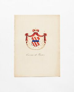 19th Century Hand Coloured Italian Bookplate of a Family Coat of Arms. 099