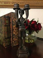 Rare Antique Bronze Blackamoor Statue Candleholder 11 1/4 Inches Tall Heavy
