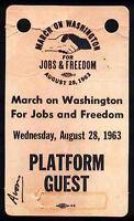 BOB DYLAN REPRO 1963 MARCH ON WASHINGTON 28 AUG PLATFORM GUEST PASS